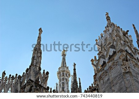 Italy, Milano: The tallest spiers of the Duomo #743440819
