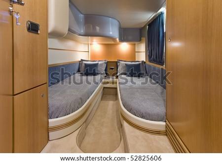 Italy, Naples, Aqua 54' luxury yacht (boatyard: Cantieri di Baia), guests bedroom