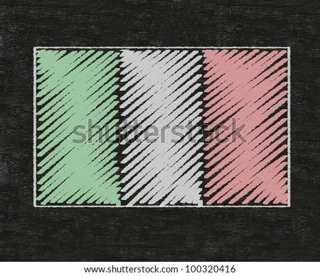 italy nation flag written on blackboard background, high resolution