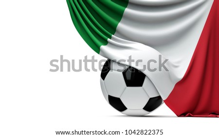 Italy national flag draped over a soccer football ball. 3D Rendering