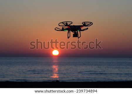 ITALY-OCT.30: DJI Phantom quadcopter flies against a beautiful sunset in the background  on the 30th of october ,2014 in italy. Quadcopter market is expected to pass the 20 billion in the 2020.