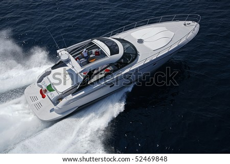 stock photo : Italy, off the coast of Naples, Aqua 54' luxury yacht