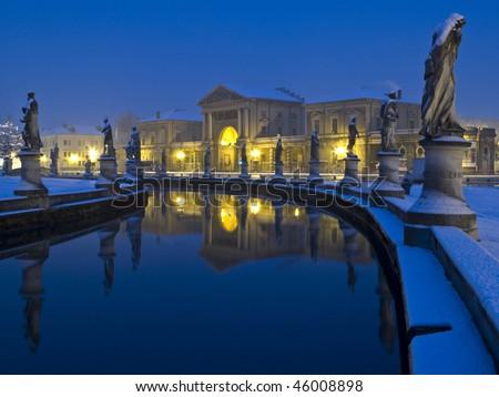 Italy, Padua: Prato della Valle square, winter nighttime - stock photo