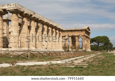 Italy, Paestum. The Temple of Hera-I and Hera-II (formerly known as Neptune or Apollo)