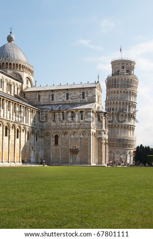 Italy, Pisa. The Cathedral and the Leaning Tower in the Campo dei Miracoli ensemble - stock photo