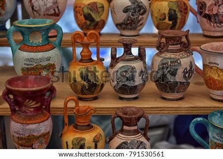 Italy Pompeii 02012018 Antique Vases Souvenirs For Sale Ez Canvas