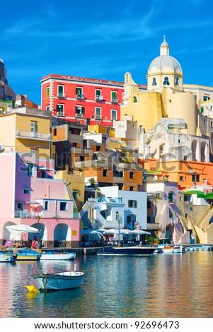 Italy - Procida, beautiful island in the mediterranean sea, naples - stock photo