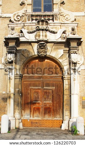 Italy, Ravenna historical old building main door