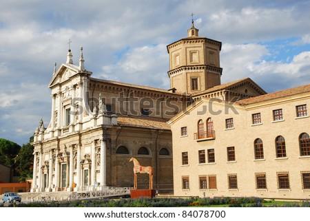 Italy  Ravenna Loggetta Lombardesca and St Maria in Porto basilica