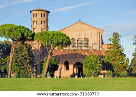 Italy Ravenna Saint Apollinare in Classe Basilica with the round bell tower
