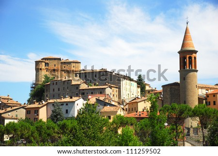 Italy. Rimini, Santa Agata-Feltria Fragoso fortress and village overview