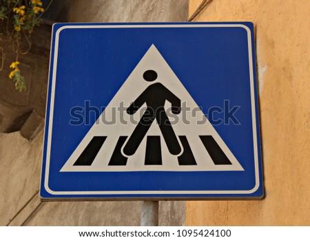 italy  road sign  crosswalk .