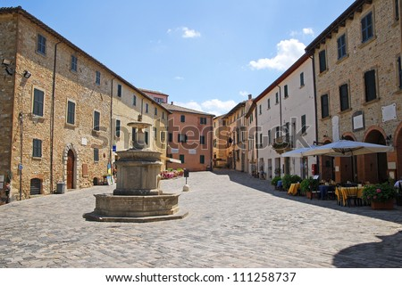 italy. Romagna Apennines, San-Leo village main square with the fountain.