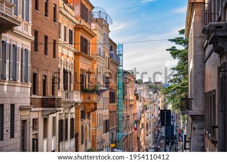 Italy, Rome, buildings along Via delle Quattro Fontane street in historic city center Foto stock ©