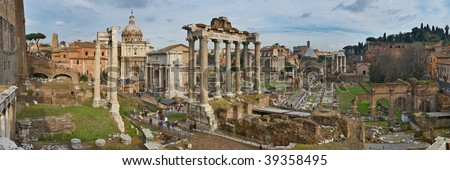 Italy. Rome. Forum Romanum view from the Capitoline Hill. Panorama