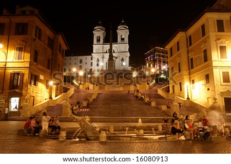 ITALY, ROME - JULY 2008. The Spanish Steps (Piazza di Spagna) - one of the most popular tourists night place in Rome.