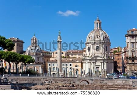 Italy. Rome. Trojan column,  churches of Santa Maria di Loreto and Santissima Nome di Maria (Most Holy Name of Mary ),and  ruins of a forum of Trajan