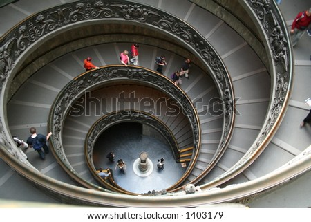 Italy. Rome. Vatican. A double spiral staircase.