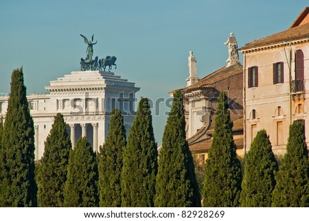 "Italy. Rome. View on Monument of Vittorio Emanuele II (The ""Vittoriano"" or Altare della patria) and Rome roofs and domes"
