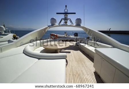 Italy, S.Felice Circeo (Rome), luxury yacht Rizzardi Posillipo Technema 95', flybridge