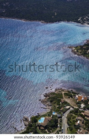 Italy, Sardinia, Olbia province, aerial view of the Emerald Coast and the Tyrrhenian Sea