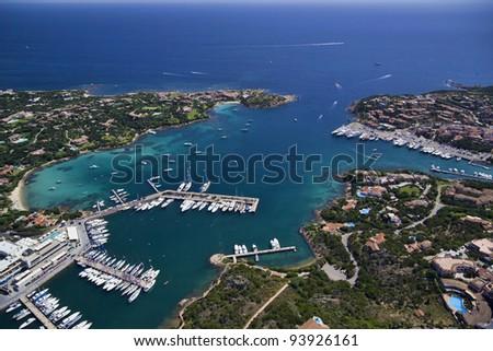 Italy, Sardinia, Olbia province, aerial view of the Emerald Coast, the Tyrrhenian Sea and Porto Cervo marina