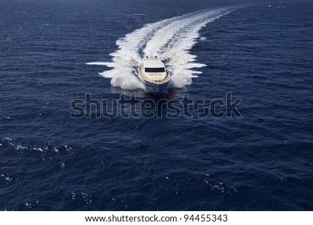 Italy, Sardinia, Tyrrhenian Sea, 35 meters luxury yacht, aerial view