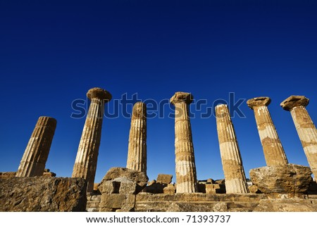 Italy, Sicily, Agrigento, Greek Temples Valley, Hercules Temple columns