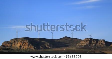 ITALY, Sicily, Agrigento province, countryside, Eolic energy turbine
