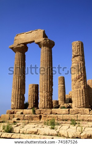 "Italy Sicily Agrigento ""Valley of the Temples"" Temple of Era Ancient Greek construction"