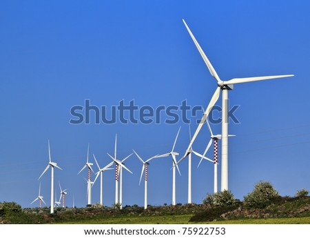 ITALY, Sicily, Catania province, countryside, Eolic energy turbines - stock photo