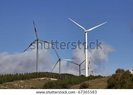 ITALY, Sicily, Francofonte/Catania province, countryside, Eolic energy turbines