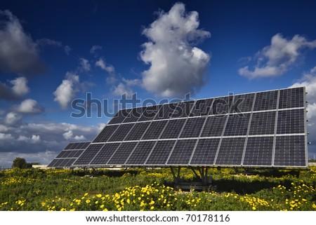 Italy, Sicily, Marina di Ragusa, countryside, solar panels