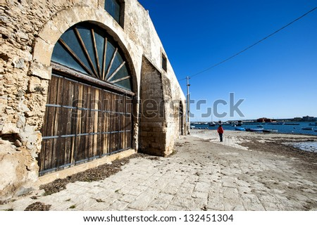 Italy, Sicily, Marzamemi (Siracusa Province), old tuna fishing factory buildings