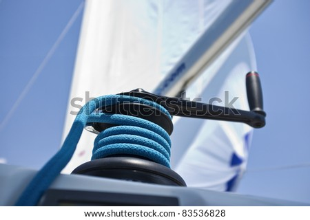 Italy, Sicily, Mediterranean Sea, cruising on a sailing boat, winch