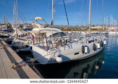Italy, Sicily, Mediterranean sea, Marina di Ragusa; 20 December 2018, luxury yachts in the port - EDITORIAL #1264645627