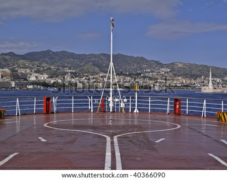 Italy, Sicily, Messina, view of the city and the port from the ferryboat that connects Sicily to the Italy peninsula crossing the sicily channel