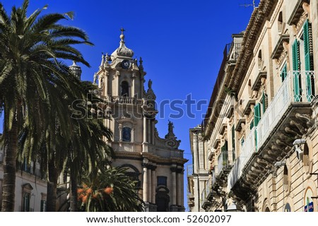 Italy. Sicily, Ragusa Ibla, old baroque buikdings and St. George Cathedral