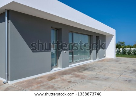 Italy, Sicily, Ragusa Province, countryside; 26 May 2018, elegant private house, view of the facade and the garden - EDITORIAL #1338873740