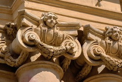 Italy, Sicily, Scicli (Ragusa Province), St. John Cathedral baroque facade (1803 a.C.), columns and ornamental statues