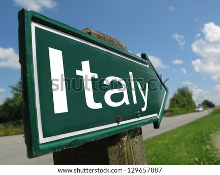 Italy signpost along a rural road