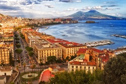 Italy, the bay of Naples. Stunning view from the Posillipo hill.