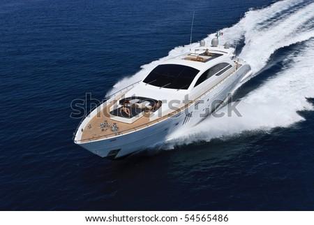 Italy, Tirrenian sea, off the coast of Viareggio, Tuscany, luxury yacht Tecnomar 36 (36 meters), aerial view