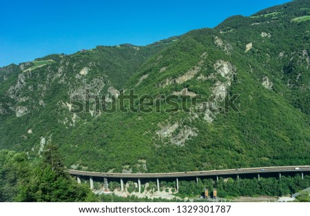 Italy, train from Bolzano to Venice, SCENIC VIEW OF LANDSCAPE AGAINST SKY elevated highway #1329301787