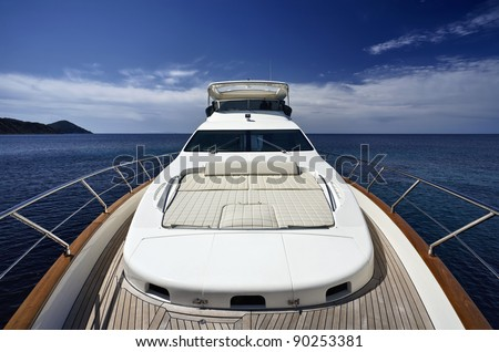 stock photo : Italy, Tuscany, Elba Island, luxury yacht Azimut 75'