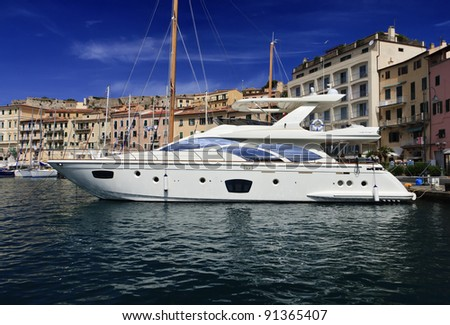 stock photo : Italy, Tuscany, Elba Island, luxury yacht Azimut 75' in