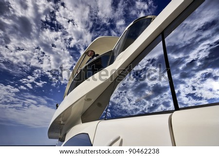 stock photo : Italy, Tuscany, Elba Island, luxury yacht Azimut 75',