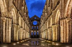 Italy, Tuscany region. Medieval San Galgano Abbey.
