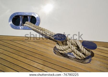 Italy, Tuscany, Viareggio, Tecnomar Nadara 88' Fly luxury yacht, bow, steel bollard