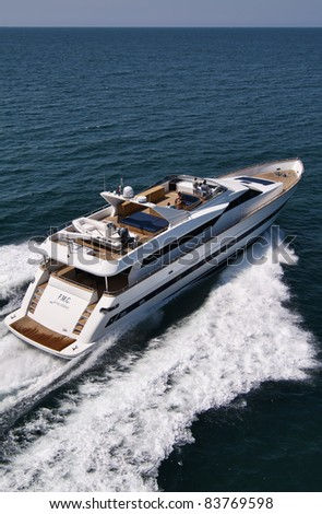 Italy, Tyrrhenian Sea, off the coast of Viareggio (Tuscany), Tecnomar 35 luxury yacht, aerial view